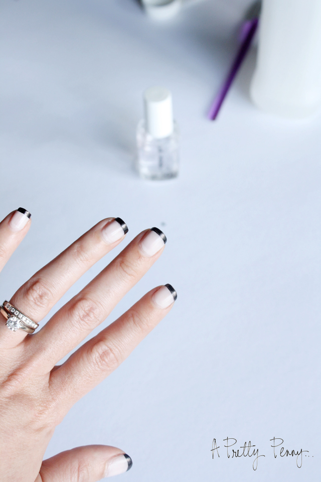A Pretty Penny | Foolproof DIY Black-Tipped French Manicure