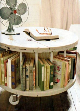 spool table book holder DIY