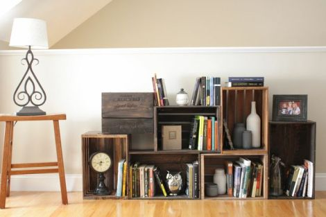 wine crate book storage
