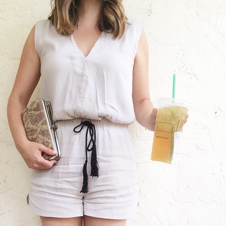 A Pretty Penny Budget Style Olive and Oak Drawstring Surplice Romper