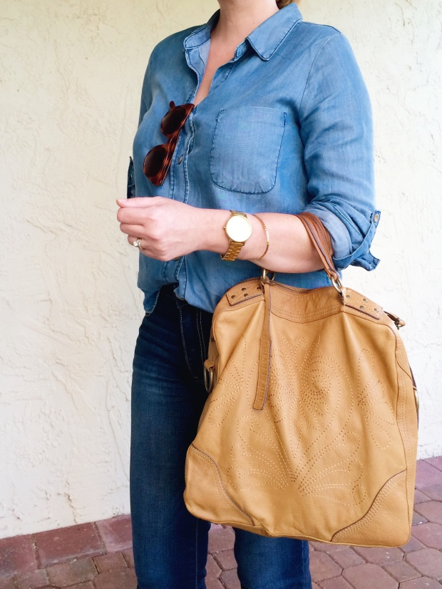 Double Denim Casual Outfit With Simple Accessories and Embroidered Leather Bag
