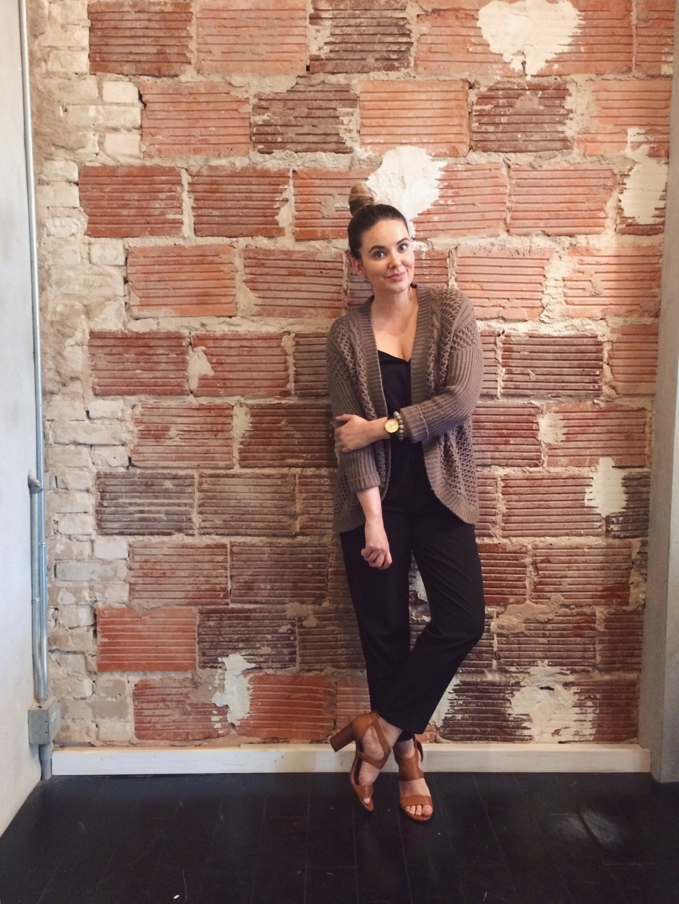 OOTD: black jumpsuit and boyfriend cardigan with leather block heel sandals. keiralennox.com