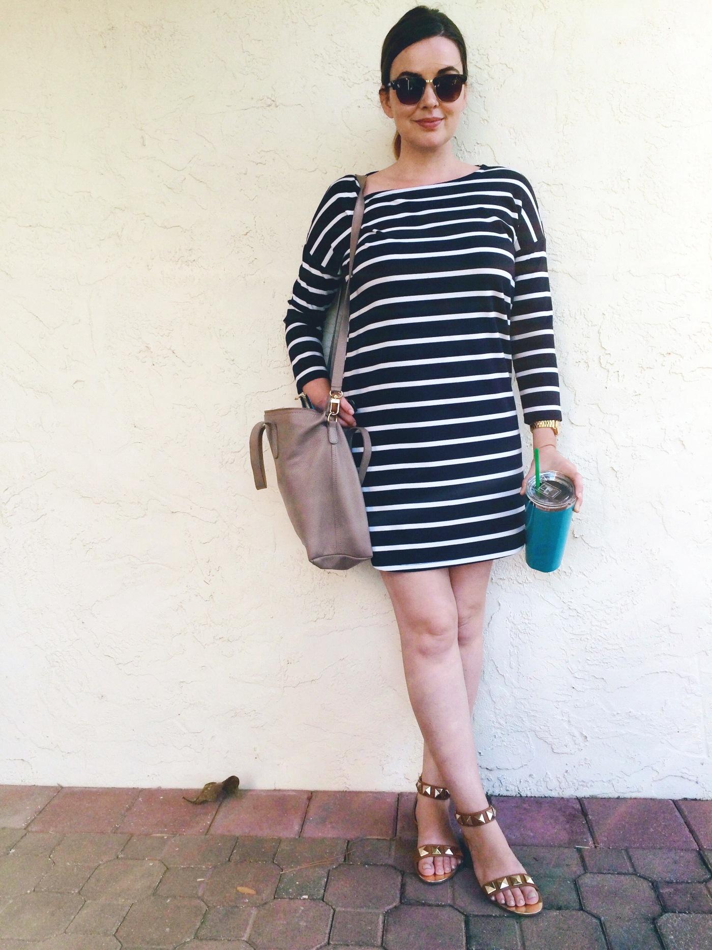 Casual OOTD: Striped BB Dakota dress with Cuyana Small Carryall Tote. keiralennox.com