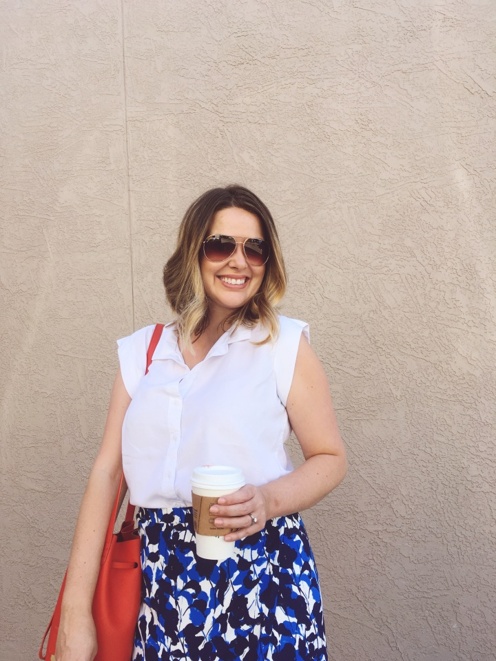 Wear to Work OOTD, J.Crew floral wrap skirt and TJ Maxx sleeveless blouse with bright Kenneth Cole bucket bag, keiralennox.com