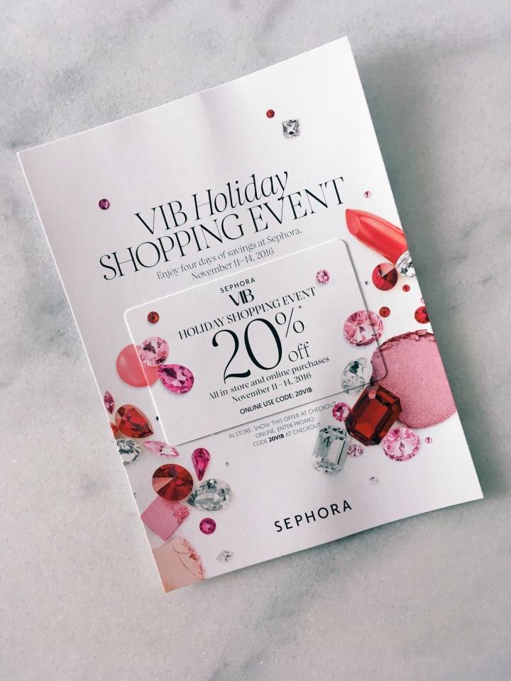 Sephora VIB Holiday Shopping Event 2016