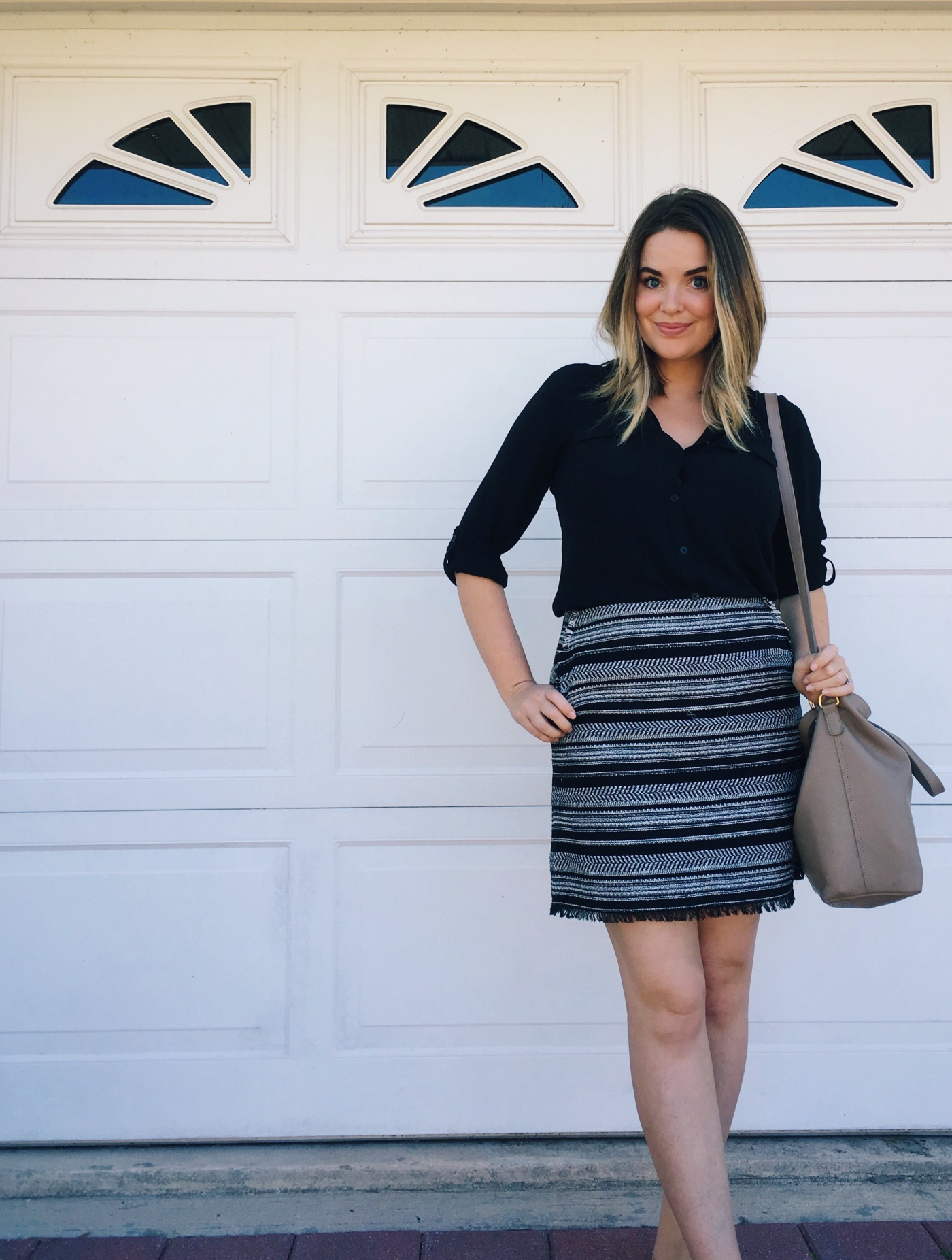 OOTD Tweed Mini Skirt, LOFT Utility Blouse, Cuyana Small Leather Carryall. Women's Fashion, Real-Life Style. keiralennox.com