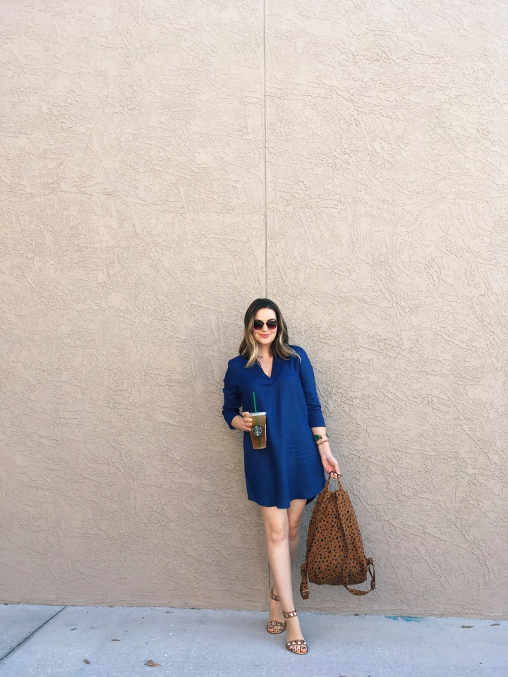 BB Dakota Shirt Dress with BAGGU canvas backpack OOTD | Real-life style blog