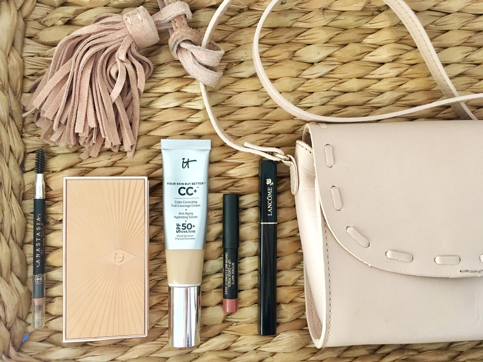 Easy 5 Product Makeup Look f/ It Cosmetics CC+ Cream, Charlotte Tilbury Filmstars Bronze and Glow Palette, Nudestix Lip + Cheek Pencil   keiralennox.com